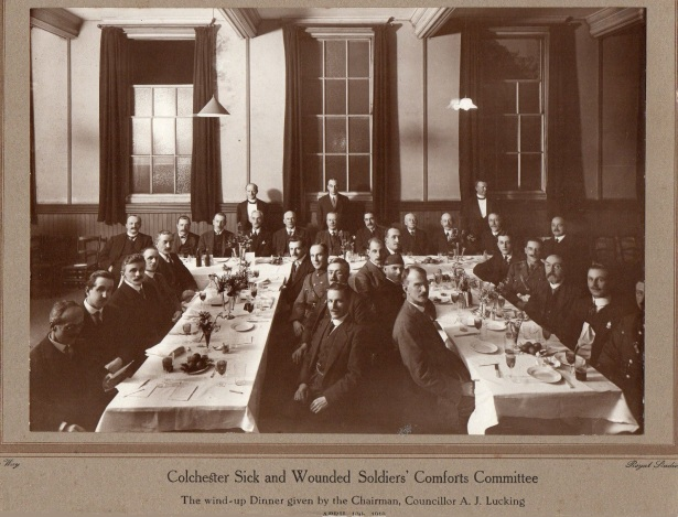 Colchester Sick and Wounded Soldiers' Comforts Committee. The wind-up Dinner given by the chairman, Councillor A. J. Lucking. Courtesy of Heather Anne Johnson.