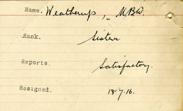 Service Card for Margaret B.W. Weatherup. ©/Permission to reproduce courtesy of British Red Cross.