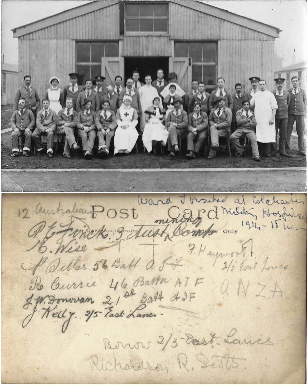 Sick and wounded soldiers: General Military Hospital, Colchester. 'Twixt 16-22 January 1917. Courtesy/© of Denise Sanford.